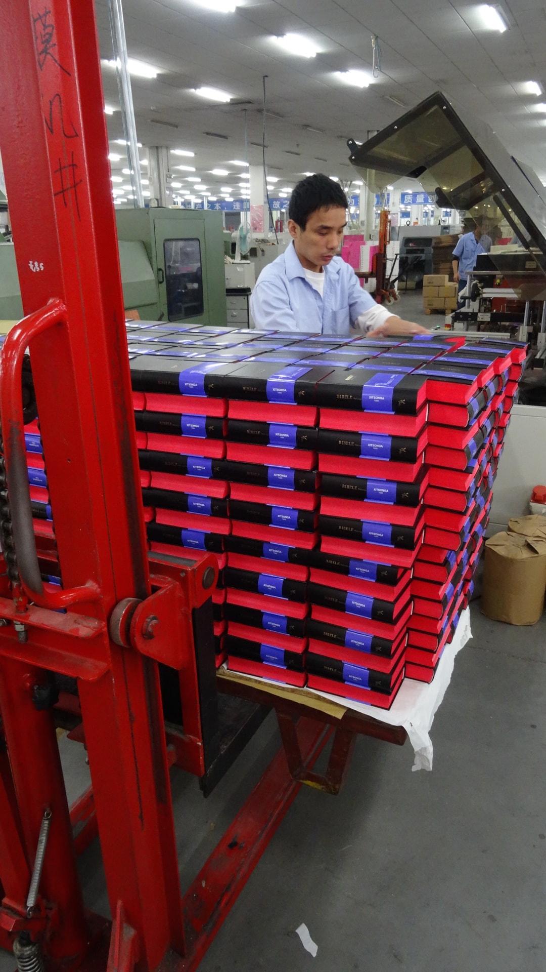 Amity Printing Press - fork lift of Bibles-min