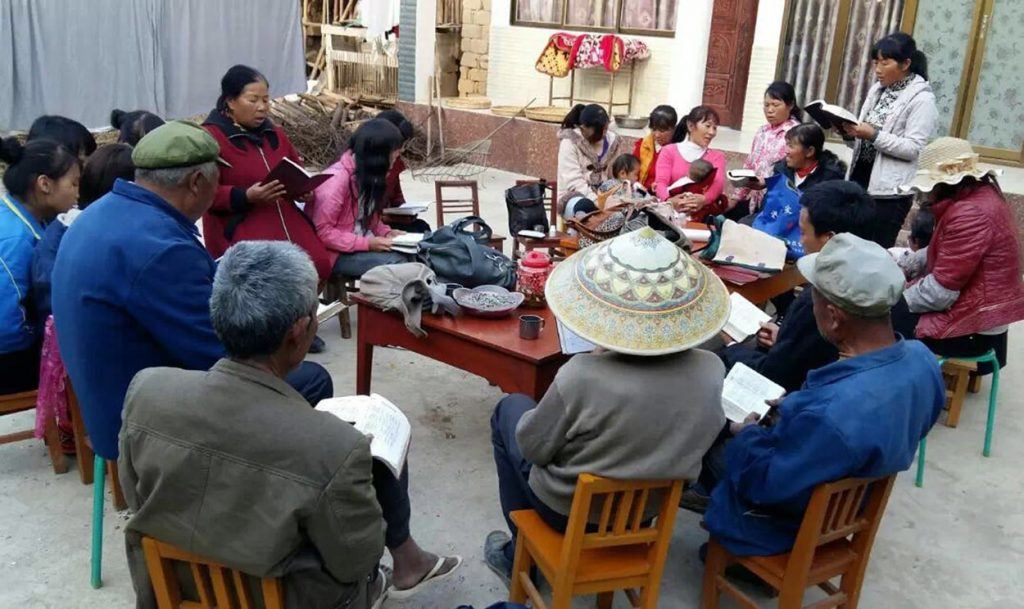 Pastor Xu Xian-zong, Baoshan Village, Bible Study - sister reading - adj-min