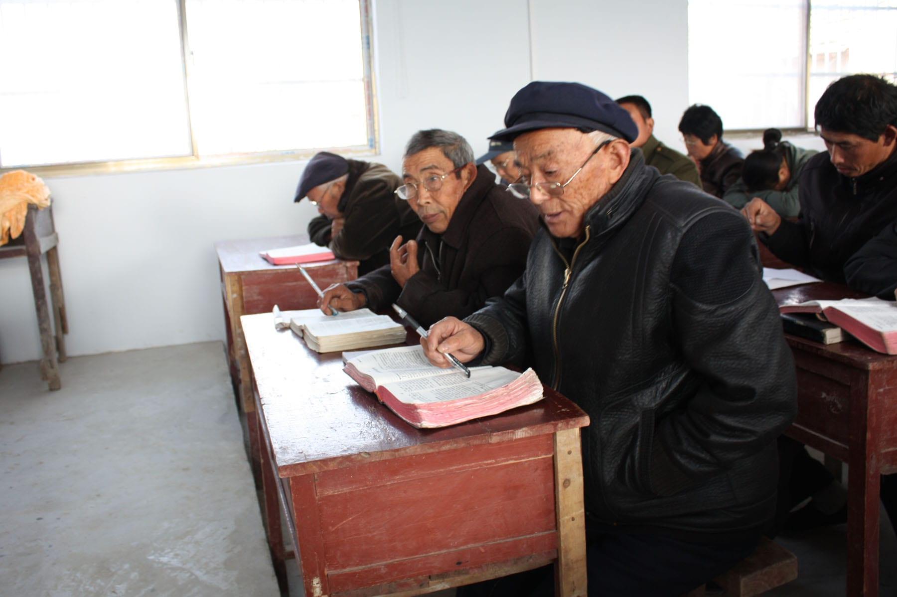 Two elderly men studying-min