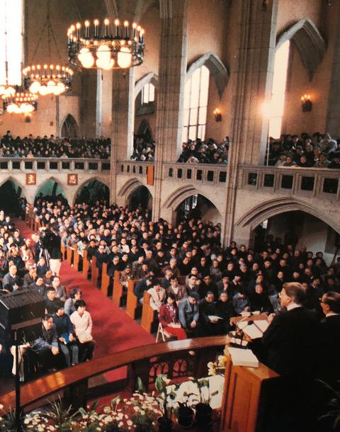 Billy preaches in Shanghai's largest Methodist Mu-en church.  April 24, 1988